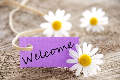 Welcome written on a tag with daisies around it